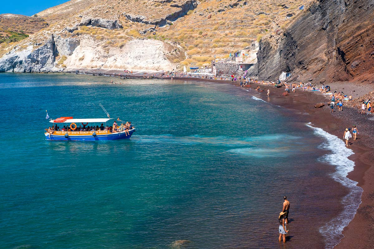 Red beach on Santorini island