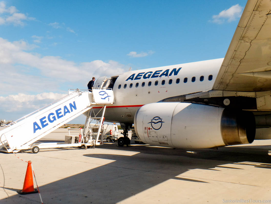 Flight of the Aegean Airline From Athens to Santorini