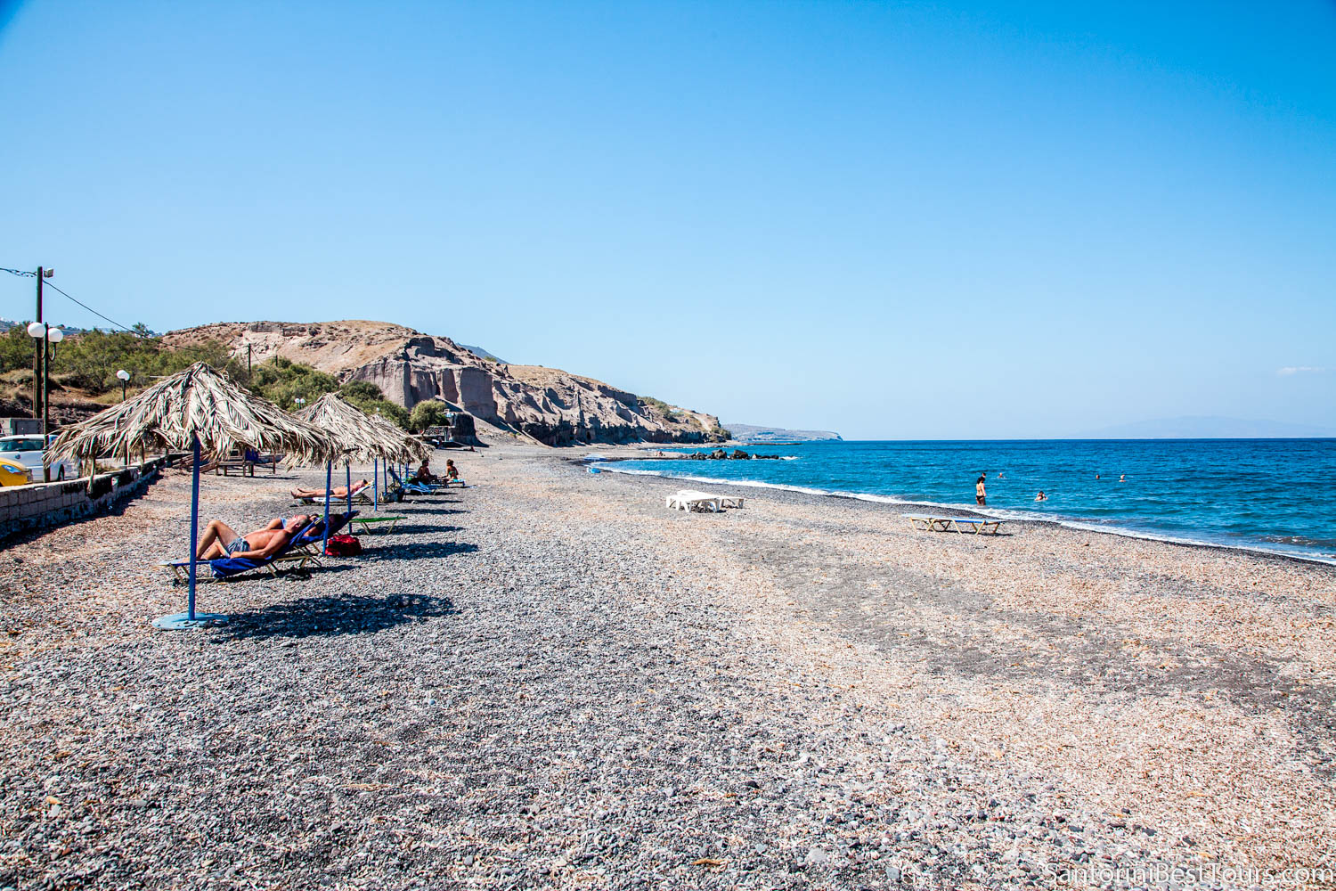 Vourvoulos beach in Santorini, Greece