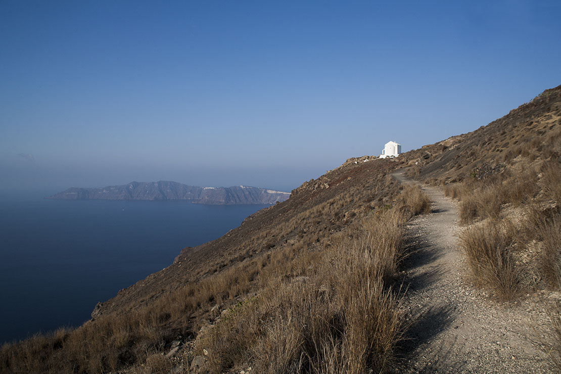 Walking path from Fira to Oia village, Greece